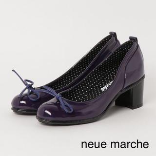 ノイエマルシェ(neue marche)の【新品】ノイエマルシェ リボン レインパンプス パープル 24.0(ハイヒール/パンプス)