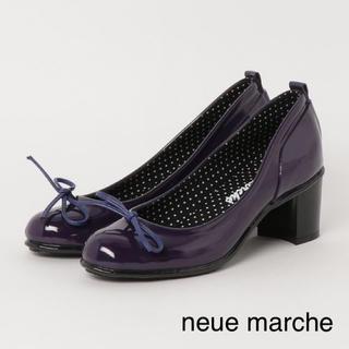 ノイエマルシェ(neue marche)の【新品】ノイエマルシェ リボン レインパンプス パープル 23.0(ハイヒール/パンプス)