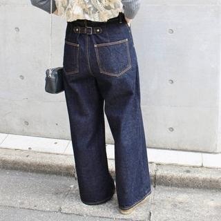IENA - 【裾上げ済み】イエナ セミワイドデニムパンツ ネイビー サイズ36
