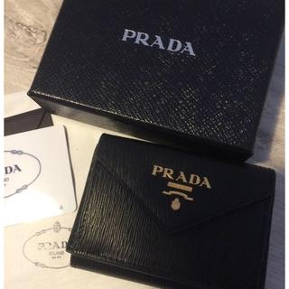 プラダ(PRADA)の【chima様専用】 極ミニ財布❤︎ ブラック 三つ折り財布(財布)