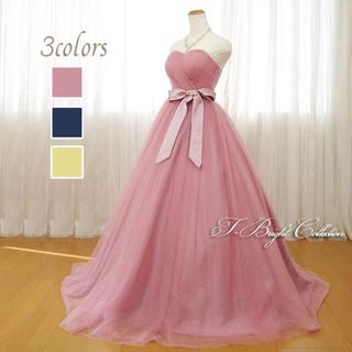 結婚式 カラードレス カクテルドレス シフォン ピンク お色直し
