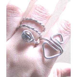リング2本セット☆パープルオーラ水晶SNAKE+三角silver(リング)