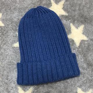 ジーユー(GU)のGU 青 ニット帽(ニット帽/ビーニー)