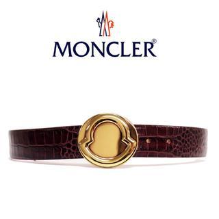 モンクレール(MONCLER)の3MONCLERクロコ型押しレザーブラウンsize75 (ベルト)