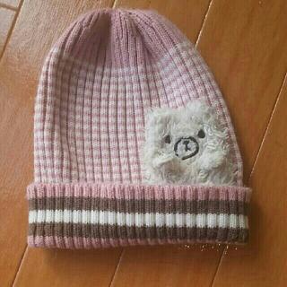 コネクト(connect)のマスコット付きニット帽、ピンク、女の子用(帽子)