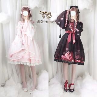 Lolita 可愛い 金魚柄 ワンピース 日常(衣装一式)