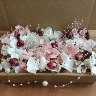 39 ピンク&ホワイト 花材 アソートボックス(プリザーブドフラワー)
