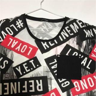 シマムラ(しまむら)の4L 総柄 パンク 文字 Tシャツ(Tシャツ(半袖/袖なし))
