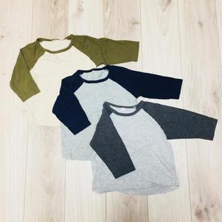 MUJI (無印良品) - MUJI kids ラグラン7分袖Tシャツ 100