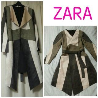 ザラ(ZARA)のZARA スエードパッチワークガウン コート(ロングコート)