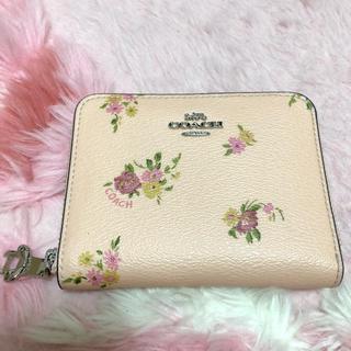 コーチ(COACH)のCOACH 二つ折り財布 ピンク 花柄(折り財布)