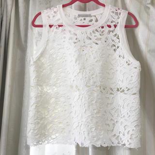 ザラ(ZARA)のZARA レーストップス 新品 ホワイト(シャツ/ブラウス(半袖/袖なし))