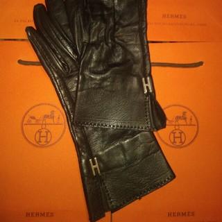 エルメス(Hermes)のエルメス ロンググローブ ブラック 7(手袋)