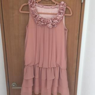 サーモンピンクパーティードレス フォーマル(ミディアムドレス)