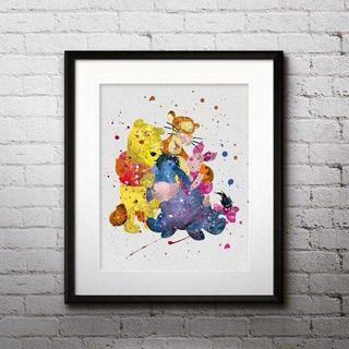Disney - くまのプーさん&ピグレット&イーヨー&ティガー・アートポスター【額縁つき!】