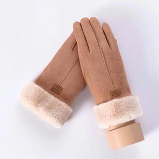 ☆おすすめ☆ レディース手袋 ♪スマホ操作対応♪ 裏起毛 キャラメル&ピンク2点(手袋)