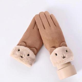 ☆おすすめ☆ レディース手袋 ♪スマホ操作対応♪ 裏起毛 猫キャラメル(手袋)