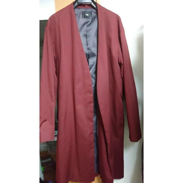 HARE(ハレ)のHARE ボタンレス ノーカラーコート ボルドー メンズのジャケット/アウター(ノーカラージャケット)の商品写真