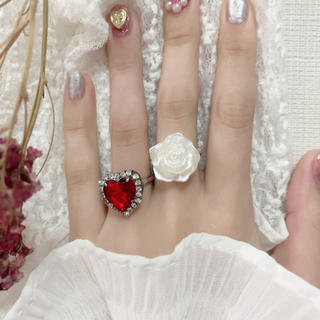 パール ローズ リング 指輪 ヴィンテージ ゆめかわいい ガーリー フ 薔薇(リング)