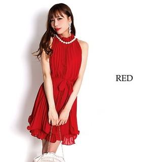 パールネック装飾 アコーディオンプリーツ ミディアムドレス ワンピース ドレス(ミディアムドレス)