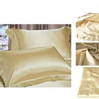 100% シルク 枕 ピローケース 天然絹 封筒型 まくらカバー ゴールド(枕)