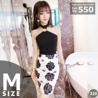 キャバドレス 320B 黒 花柄 セパ ホルターネック ミディ丈 M(ミディアムドレス)