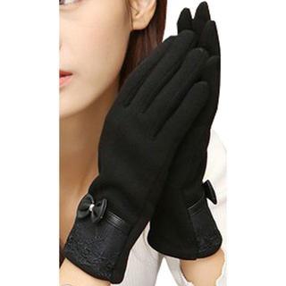 レディース エレガント 手袋 ブラック(手袋)
