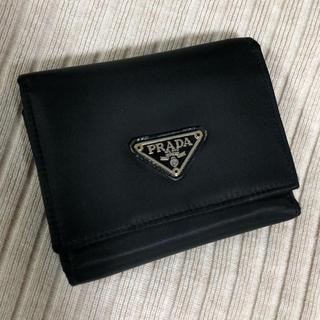 プラダ(PRADA)のPRADA 三つ折 財布 ブラック(折り財布)