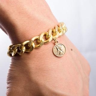 真鍮 中コイン 12ミリ チェーン ブレスレット ゴールド