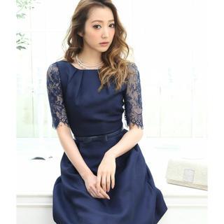 DRESS LAB 袖レースベルト付きパーティードレス(ミディアムドレス)