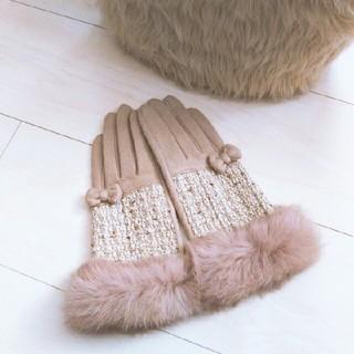 リボンファー手袋*美品(手袋)