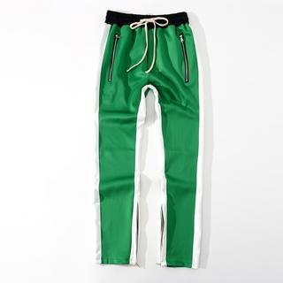 グリーン×ホワイト ライン トラックパンツ