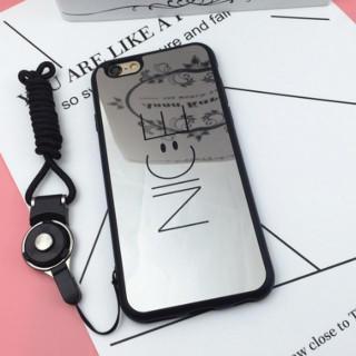 黒 NICE スマイル スマイリー iPhone カバー スマホ ケース  ニコ(iPhoneケース)