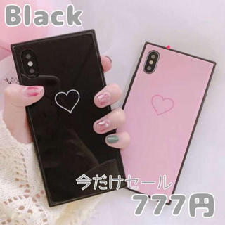 アイフォンケース オルチャン☆スクエア☆高品質♪ブラック 韓国(iPhoneケース)