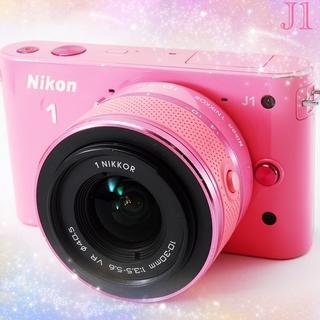 ニコン(Nikon)の❤️めったに出逢えない限定ピンクニコン1 J1❤️Wi-Fiカード・フード付❤️(ミラーレス一眼)