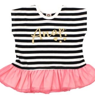 アナップキッズ(ANAP Kids)のANAPkids新品ボーダーチュールTシャツ(Tシャツ/カットソー)