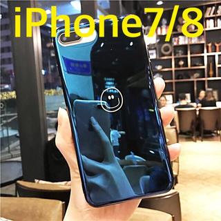 鏡面 スマイル iPhone7/8 ケース ネイビー(iPhoneケース)