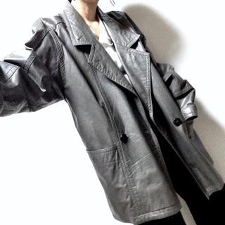 革コート 本革 グレー 古着 モード レトロ 80s 90s 菅田将暉 オールド(ライダースジャケット)