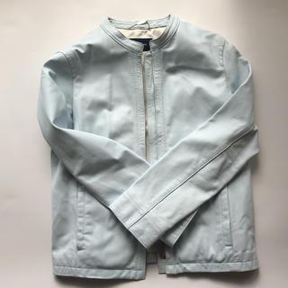 ニューヨーカー(NEWYORKER)のニューヨーカーレザー ライダースジャケット 薄い水色パステルカラー(ライダースジャケット)