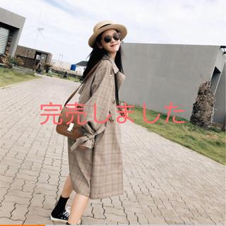 秋新作 ゆったりめ 大人可愛い チェク柄中ロングトレイルコート 韓国ファッション(トレンチコート)