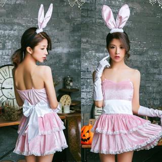 ハロウィン☆コスプレ☆ピンクバニー☆スカート☆2段フリル☆うさ耳☆リボン(衣装一式)