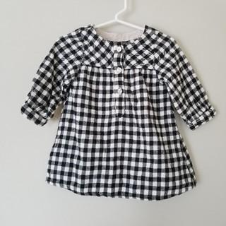 MUJI (無印良品) - ベビー&キッズ女の子80サイズ ワンピース チュニック 黒×白