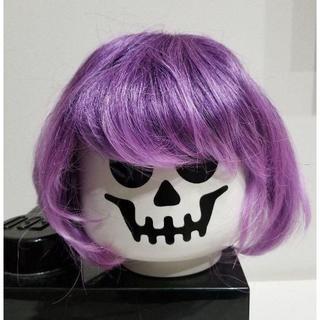 05p ウィッグ フルウィッグ パープル 紫 カラーウィッグ ハロウィン かつら(ショートストレート)