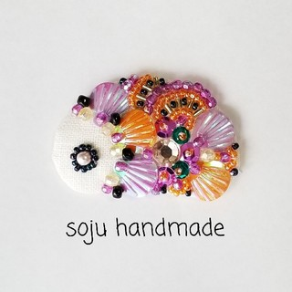 ハロウィンフィッシュ ビーズ刺繍 (コサージュ/ブローチ)