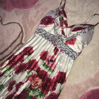 サテンロング花柄ドレス(ロングドレス)