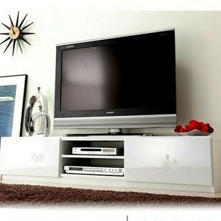 テレビ台 150cm 65インチ対応 ホワイト 鏡面仕上げ テレビボード TV台(棚/ラック/タンス)