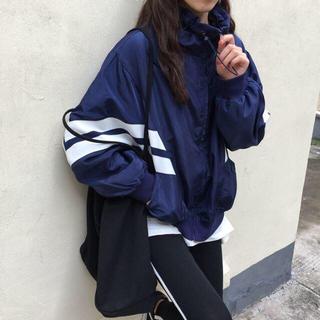 マウンテンパーカー ライトジャケット ナイロン 男女兼用 ネイビー トレンド(ナイロンジャケット)