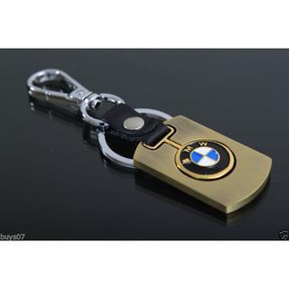 ビーエムダブリュー(BMW)のBMW キーホルダー ゴールド&レザー(可動式) キーチェーン  エンブレム(車種別パーツ)