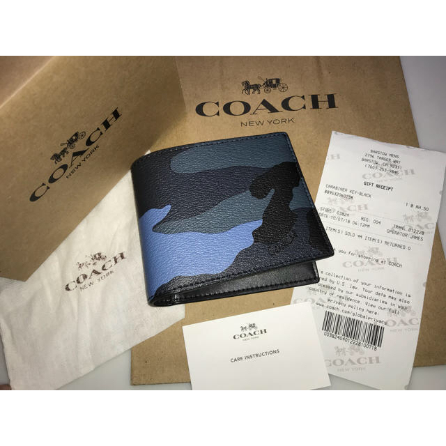 f3ae4b2c8fda COACH(コーチ)の新品コーチ二つ折り財布カモフラージュレザーIDケースウォレットダスク