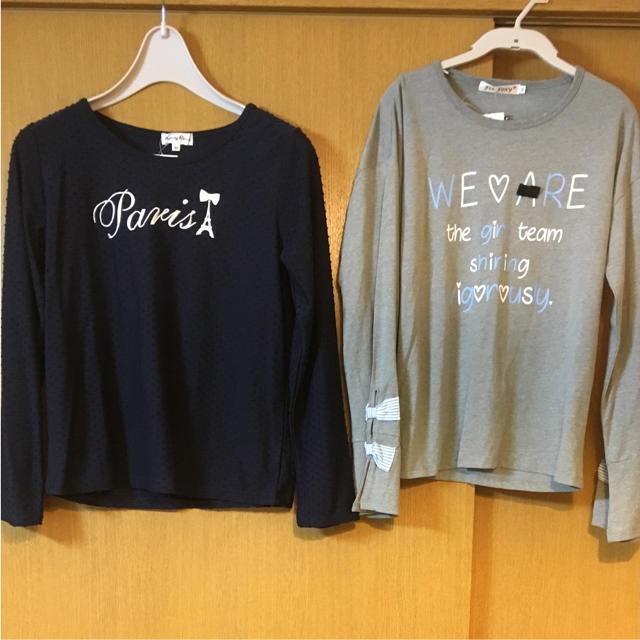 しまむら(シマムラ)の新品 しまむら 女児 160 リボン 刺繍 Tシャツ ロンT セット  キッズ/ベビー/マタニティのキッズ服 女の子用(90cm~)(Tシャツ/カットソー)の商品写真